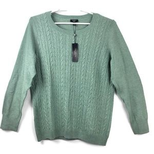 NWT Talbots Green Cable Knit Sweater Size 1X